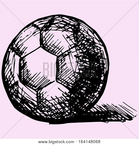 handball ball in front doodle style sketch illustration hand drawn vector