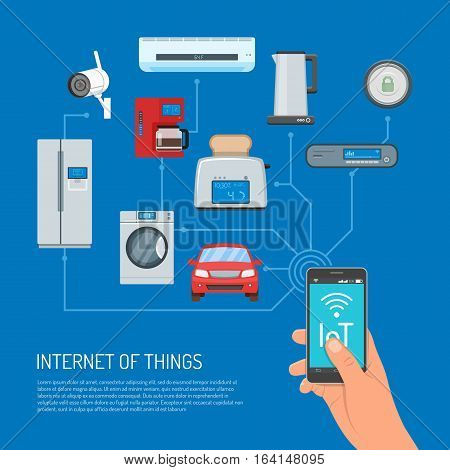 Internet of Things vector concept illustration. Human hand holding smartphone with IoT lettering on screen. Household appliances, auto icons connected to mobile. Home automation concept, flat style.
