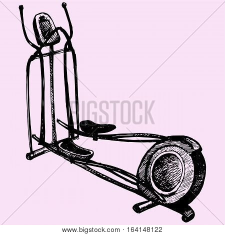 cross trainer doodle style sketch illustration hand drawn vector