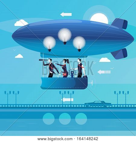 Vector illustration of business people flying on aerostat. Electric light bulbs over their heads. Businessman watching in spyglass. Business vision , new ideas concept design element in flat style.