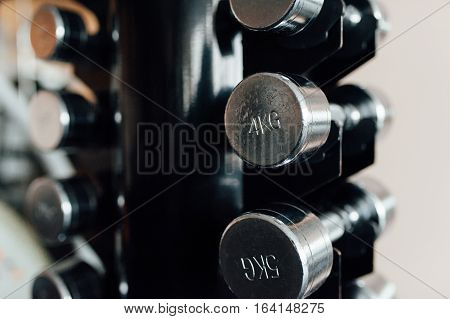 Dumbbells In A Fitness Hall