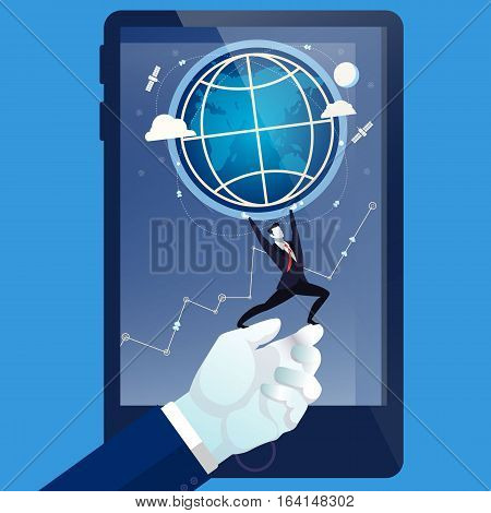 Vector illustration of businessman on human hand holding the Earth like greek mythology god Titan Atlas holds the world on his shoulders. Business concept design element in flat style. poster