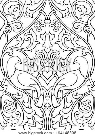 Black and white floral pattern. Seamless filigree ornament. Stylized template for wallpaper textile bedspread curtain shawl tile carpet and any surface. Pattern with birds.