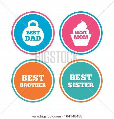 Best mom and dad, brother and sister icons. Weight and cupcake signs. Award symbols. Colored circle buttons. Vector
