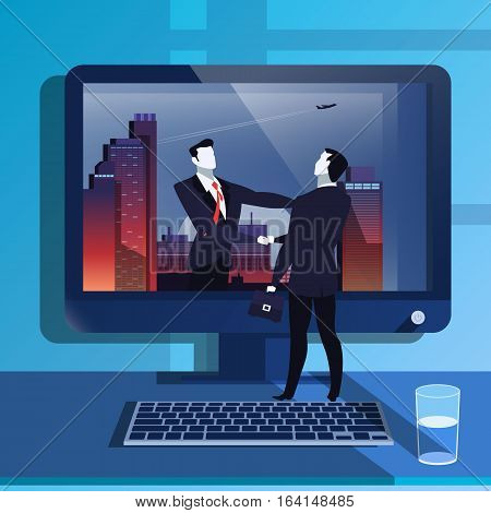 Vector illustration of businessmen handshake. Success, dealing and business agreement concept design element in flat style.