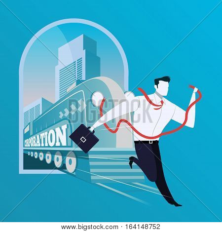Vector illustration of businessman with red ribbon running away from train with Corporation lettering. He faces a danger. Business risk concept design element in flat style