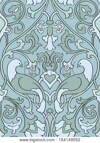 Blue and gray floral pattern. Seamless filigree ornament. Stylized template for wallpaper textile bedspread curtain shawl tile carpet and any surface. Color background with birds and flower.