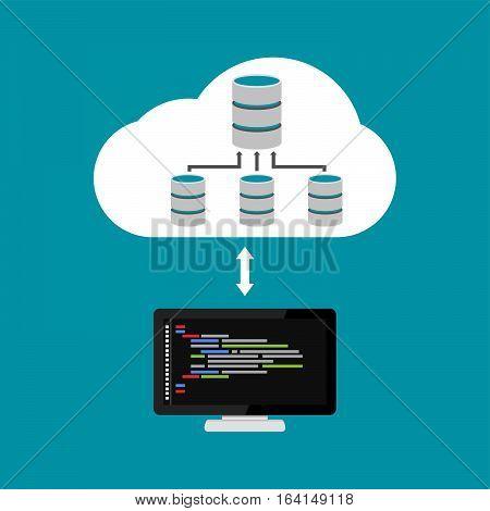 Database architecture programming. Database relation management. Cloud storage.