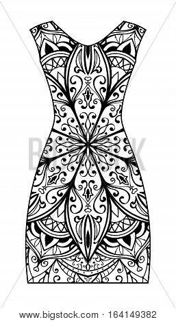 Template with ornament for dress. Black and white illustration.