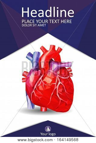 Medical book cover design A4. Annual report with human heart in low poly. Academic journals conferences and magazines. Vector Illustration.