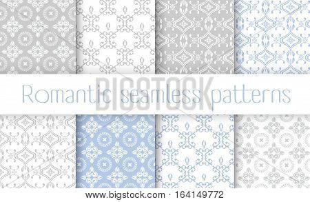 Vector set collection of romantic floral seamless pattern for decoration damask   vintage style
