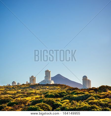 Telescopes Of The Astronomical Observatory Izana With Volcano El Teide In The Background, Spain