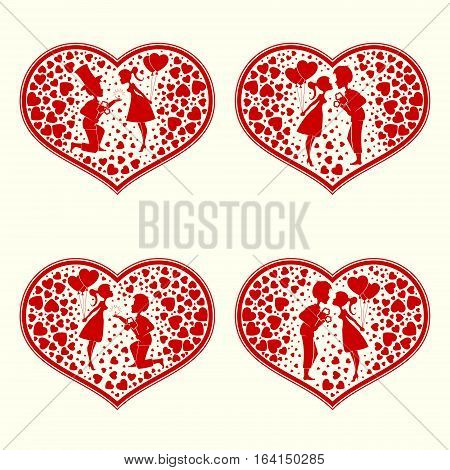 Design of silhouettes of hearts, of lovers man and woman snuggled up to each other