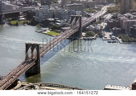Brooklyn Bridge in New York City and East River