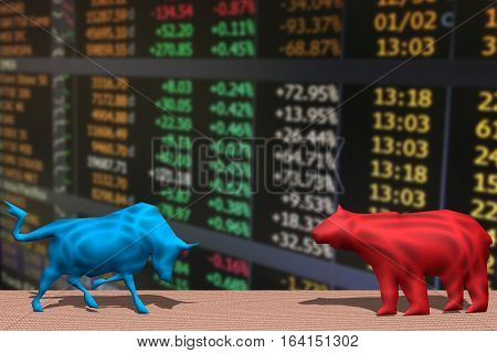a bull and a bear fighting and financial market index
