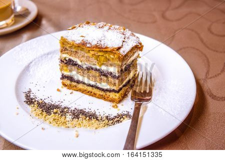 Traditional Slovenian cake with layers - Exquisite sweet dessert a traditional cake from Prekmurje with poppy seeds nuts cottage cheese and apple layers called Prekmurska gibanica.