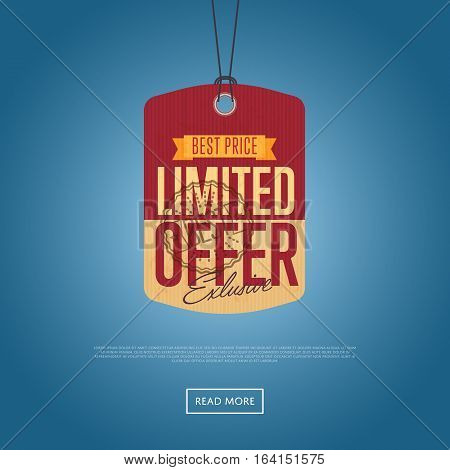 Limited offer sale sticker isolated vector illustration. Best price tag, exclusive offer discount banner, advertisement retail label, special shopping symbol. Vintage colorful graphic style offer sign