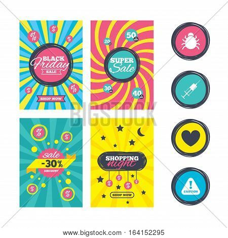 Sale website banner templates. Bug and vaccine syringe injection icons. Heart and caution with exclamation sign symbols. Ads promotional material. Vector