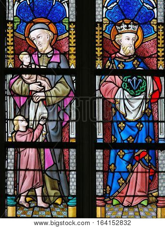 Stained Glass - Saint Vincent De Paul And Saint Louis Of France