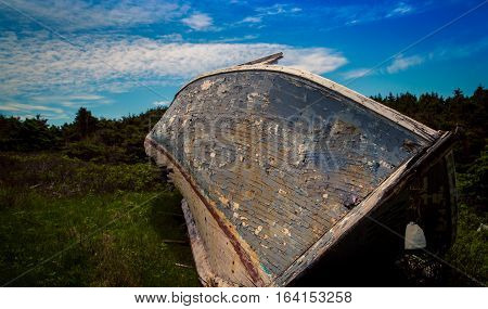 Old wooden rotting boat in Prince Edward Island