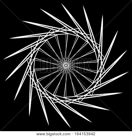 Geometric Spiral. Abstract Circular Mandala. Esoteric Motif.
