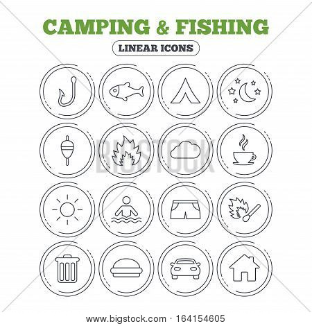 Camping and fishing icons. Tourist tent, fire and match symbols. Coffee cup and hamburger. Car and house. Fish, hook and float bobber thin outline signs. Circle flat buttons with linear icons. Vector