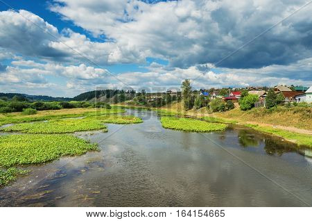 The Chusovaya river in the vicinity of the village Staroutkinsk. Russia. Ural
