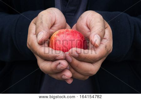 Homeless person holding red apple in hands