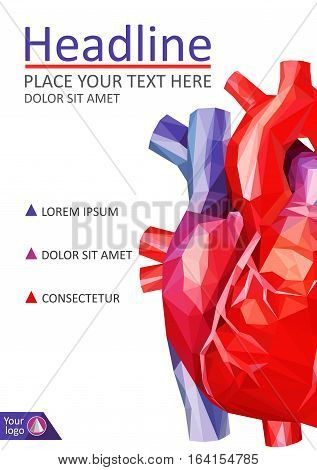 Book cover low poly human heart. Annual report. A4 Medical journals conferences magazines. Academic research. Vector illustration.