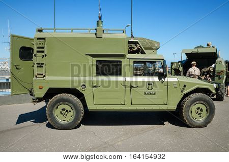 Tenerife Spain - May 31 2015: Display of Spanish army forces and police equipment on May 31 2015 in Tenerife canary island Spain.