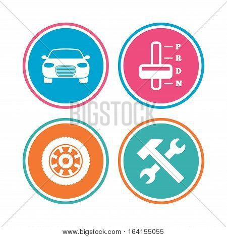 Transport icons. Car tachometer and automatic transmission symbols. Repair service tool with wheel sign. Colored circle buttons. Vector