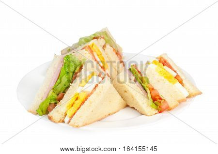 A selection of Sandwiches with various fillings at a plate