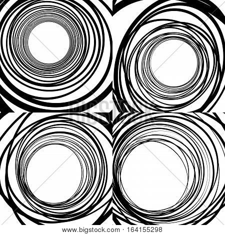 Set Of Random Concentric Rings, Concentric Circles Geometric Patterns. Abstract Monochrome Backgroun