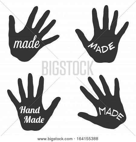 Vector label with hand and made word lettering - stamp for homemade products and shops