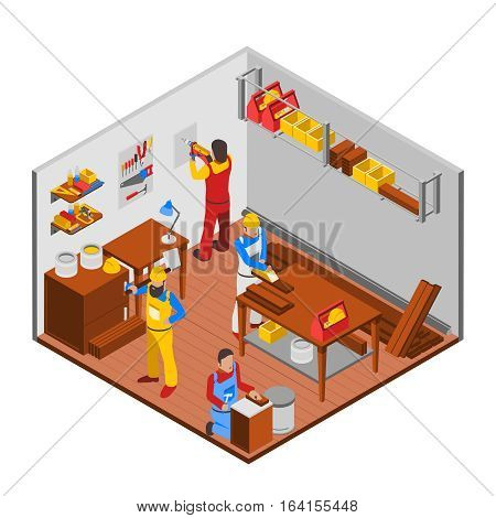 Woodwork workshop isometric concept with people equipment and workers vector illustration