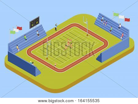 University sport complex american football stadium with public fans and cheerleaders performance isometric view poster vector Ilustration