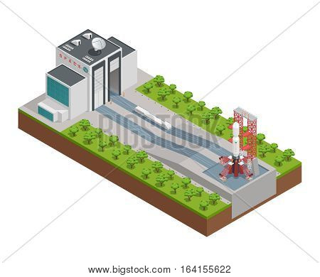 Colored 3d rocket isometric composition with design for repair and build rockets vector illustration