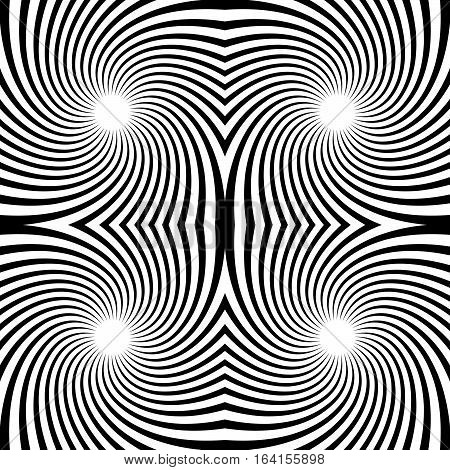 Seamless Swirl Pattern. Radiating Lines With Spiral Distortion. Rotating Radial Stripes Background