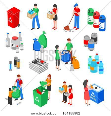 Garbage and plastic recycling isolated images set with isometric rubbish containers trash bins and people characters vector illustration