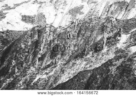 Mountain range covered with snow. National Park