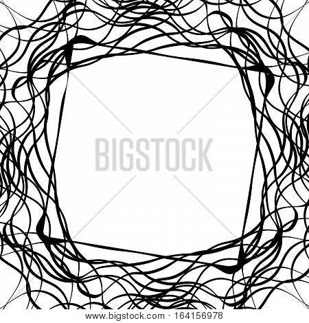 Tangled Random Curvy Lines Pattern, Geometric Element