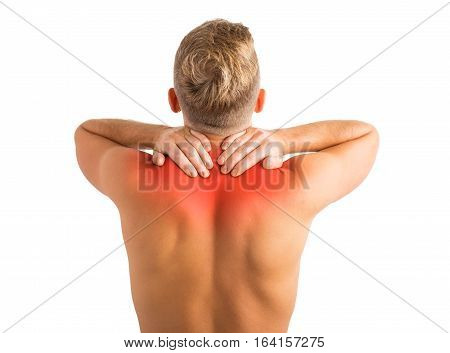 Man with hurting shoulders and upper back problems