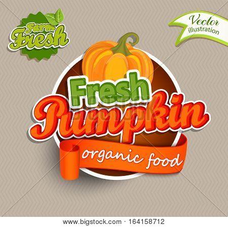 Fresh Pumkin logo lettering typography food label or sticker. Concept for farmers market, organic food, natural product design.Vector illustration.