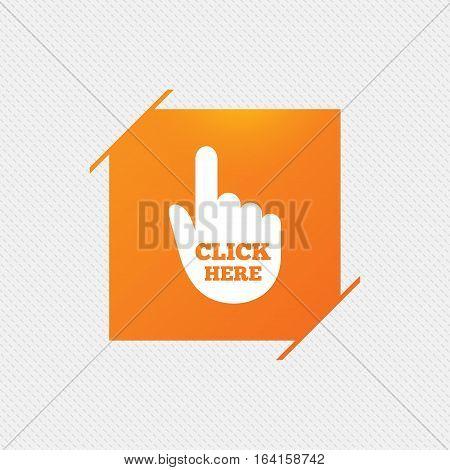 Click here hand sign icon. Press button. Orange square label on pattern. Vector