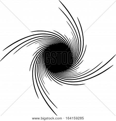 Element(s) With Rotating Distortion, Spiral Effect. Abstract Geometric Elements.