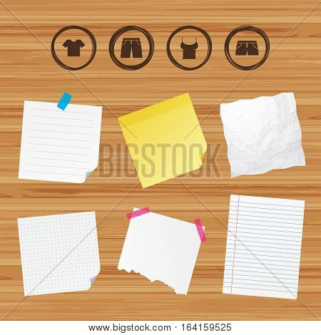 Business paper banners with notes. Clothes icons. T-shirt and pants with shorts signs. Swimming trunks symbol. Sticky colorful tape. Vector