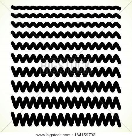 Set Of Wavy, Zigzag Horizontal Lines, Dividers
