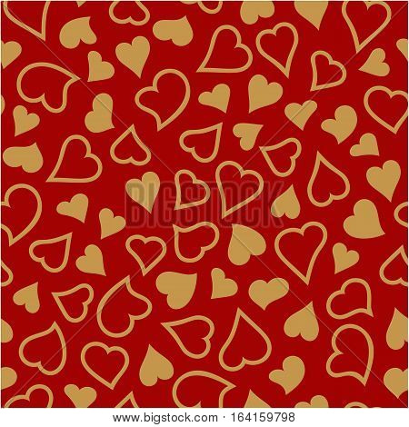 Valentine's day seamless pattern with golden hearts. Valentines day background for invitation. Endless texture can be used for printing onto fabric paper or scrapbooking.