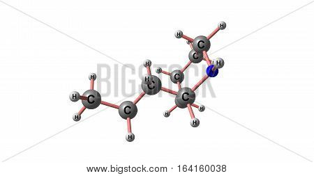 Coniine is a poisonous alkaloid found in poison hemlock the yellow pitcher plant. 3d illustration