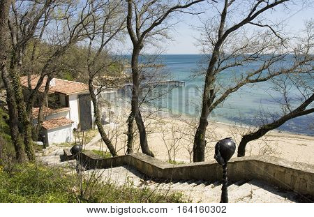 Restaurant on the beach in the little bay in Saints Constantine and Helena resort Bulgaria.